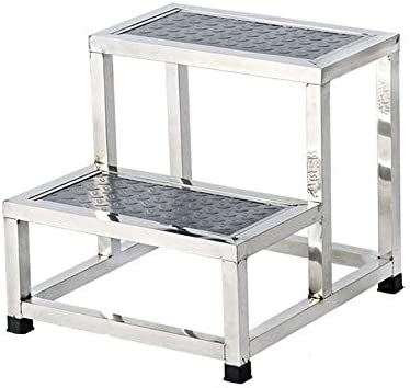 BOC Taburete simple de dos escalones de metal, Taburete simple de dos peldaños, Escalera de acero inoxidable, Taburete de cocina, Reposapiés de almohadilla de lavado para niños,Pequeña: Amazon.es: Bricolaje y herramientas