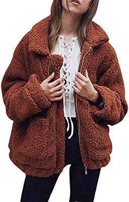 Women Fluffy Hooded Coat TUDUZ Ladies Loose Fleece Hooded Jumper Button Pocket Jacket Outwear