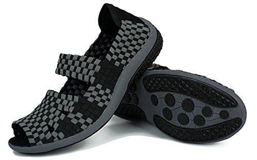 Sko Mange Sneaker Trenere Damene 7 På Størrelse Slip Fitness Walking Flat 2 5 Black2 Uformell Lett Jane Farger Sandal Gfone Elastisk Vevd fESZW8q8On