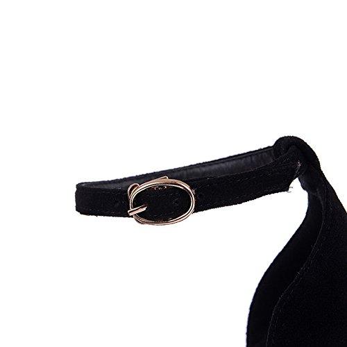 AllhqFashion Mujeres Puntera Abierta Tacón de aguja Material Suave Hebilla Sólido Sandalia Gold