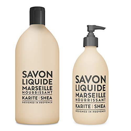 (Compagnie de Provence Savon de Marseille Liquid Soap - Karite Shea Butter - 16.9 Fl Oz Glass Pump Bottle and 33.8 fl oz Plastic Bottle Refill )