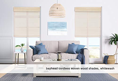 Cordless Woven Wood Roman Shades, 31W x 36H, Eastfield Ash, Any size 20'' to 72 wide and 24'' to 72 High by Windowsandgarden (Image #2)