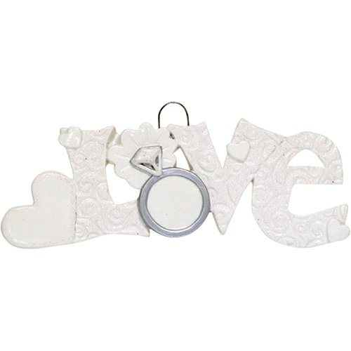 Personalized Love Christmas Tree Ornament 2019 - White Glitter Letter Engagement Ring Wedding Flower Heart Gift Just Married Newlywed Ceremony Romantic Anniversary Year - Free Customization