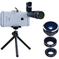 Apexel 4 in 1 Camera Lens 12x Telephoto Lens/Fisheye/ Wide Angle + Macro Lens with Universal Clip for iPhone 7/6/6s plus SE Samsung Galaxy S7/S7 Edge and most Android Smartphone