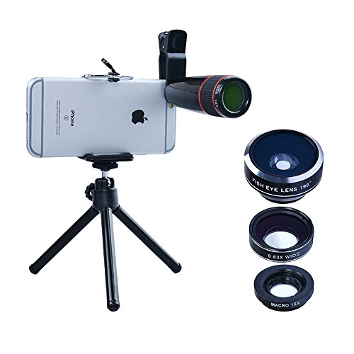 Apexel 4 in 1 Camera Lens 12x Telephoto Lens/Fisheye/ Wide Angle + Macro Lens with Universal Clip for iPhone 7/6/6s plus SE Samsung Galaxy S7/S7 Edge and most Android Smartphone by Apexel