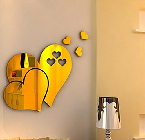 Fang-Ling 1 Set 3D Mirror Love Hearts Wall Sticker Decal,DIY Home Room Art Mural Decor Removable Room Decal (Gold)