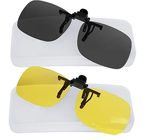 (Clip On Sunglasses Polarized Sunglasses to Clip onto prescription Eyeglasses Flip Up for Men and Women Set of Smoke and Yellow Night)