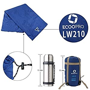 "ECOOPRO Warm Weather Sleeping Bag - Portable, Waterproof, Compact Lightweight, Comfort with Compression Sack - Great for Outdoor Camping, Backpacking & Hiking-83 L x 30"" W Fits Adults (Dark Blue)"