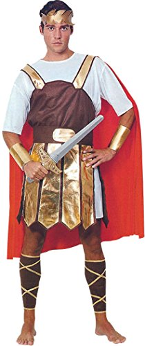 [Mens Fancy Dress Centurion Warrior Roman Gladiator Trojan Soldier Costume Outfit] (Mens Trojan Costume)
