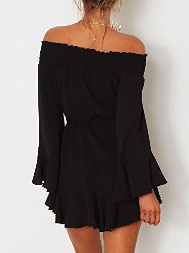 8bbb3a7c881 DUBACH Womens Off Shoulder Flared Drop Hem Tied Casual Dress Black,Small