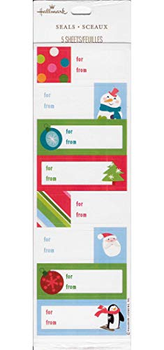 Hallmark Self-Adhesive Christmas Gift Tag Labels - 5 Sheets