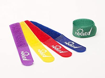Tech Zone - Chunky Large Velcro Cable Ties - Extra Value 20 Pack - Multi Colour