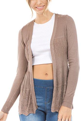 Vialumi Women's Regular Size Solid Open Front Pointelle Cardigan Mocha Large