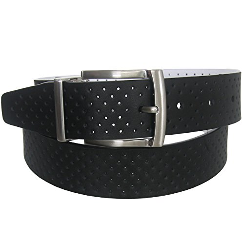 Nike Men's Perforated Reversible Leather Belt, Black/White, 40 - Nike Reversible Belt Accessories