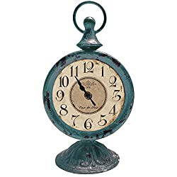 Rustic Vintage Blue Table Top Clock Shabby Chic Country Decor Antique Farm Desk Top Clock
