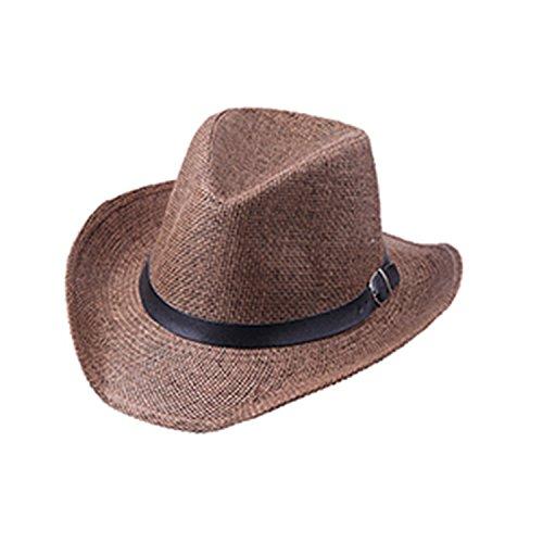 - Novel Summer Men and Women Cowboy Hat Wide Brimmed Jazz Hats Feminino Sun Straw Hat Caps Beach Hat Chapeau Band Sonne Women Coffee