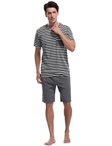 iClosam Men's Pajama Set Summer Short Sleeve Lounge Cotton Classic Striped Shorts & Shirt Sleepwear(S-XXL) - Classic Pajama Cotton