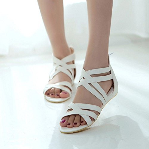 Gladiator Strappy Women Zip Flats Closure Sandals White KemeKiss Classic vwFnqHzx