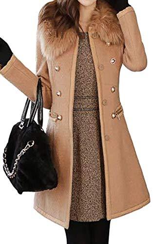 Grande Marron Double Laine Trench Manteau Femme Chaud Slim Hiver de de Manches Jacket Longue Hiver Boutons Bevalsa Automne Fourrure Taille Range Parka wPqvqH1F