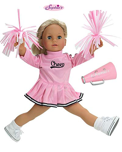 Sophia's 18 Inch Doll Cheerleader Clothes, Fits American Girl Dolls, Doll Cheerleader Dress Outfit Set with Pom Poms, Plus Megaphone