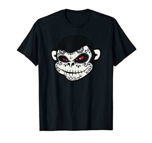 Sugar Skull Monkey Dia De Los Muertos Calavera Pun T-Shirt