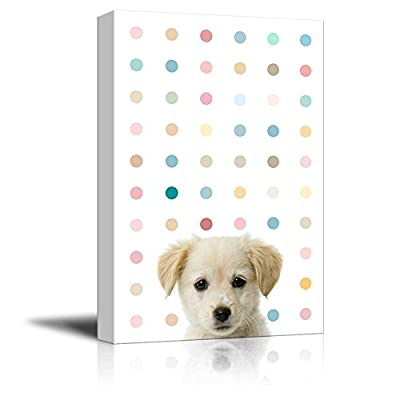 Peekaboo Animals Canvas Wall Art - Cute Dog on Color Dots Background - Gallery Wrap Modern Home Art | Ready to Hang - 12x18 inches