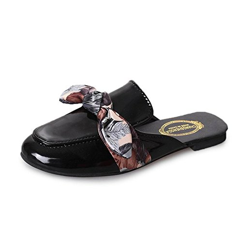 Women Ladies Black MOREMOO Toe Women Flats Sandals Bowtie Summer Slippers Shoes Mules Pointed drcAgcW