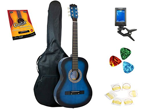 Star Acoustic Guitar 38 Inch with Bag, Tuner, Strings, Picks and Beginner's Guide, Blueburst by Star
