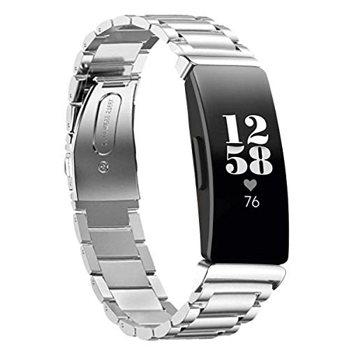(aczer-Y Fitbit Inspire HR Band Metal Accessories Small Large, Stainless Steel Replacement Band with Folding Clasp Strap for Fitbit Inspire HR Smart Watch Bands Wristband Women Men (A-sliver))