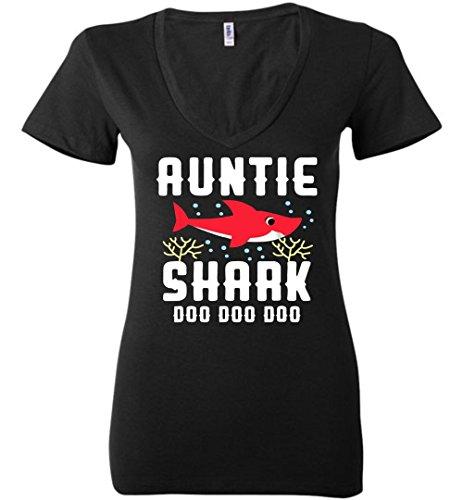 Doo V-neck - Auntie Shark Shirt Doo Doo Doo V Neck