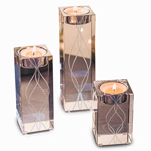 OVLUXE Large Crystal Candle Holders Set of 3. Luxury Elegant Engraved Square Clear Glass Pillar Tealight Candle Holder Table Centerpieces Set Ornaments Ideal for Glamorous Weddings and Home Decor