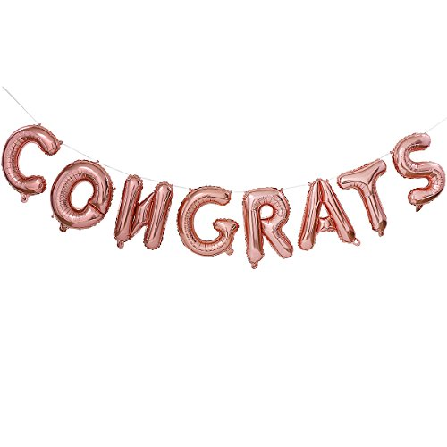 Congrats Grad Auto - 16 Inches Rose Gold Congrats Balloons Banners Decoration,Rose Gold Letters Balloons for Graduation Bachelorette Anniversary Grad Celebration Party Decorations