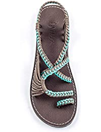 f7573f5de19a Flat Sandals for Women Palm Leaf
