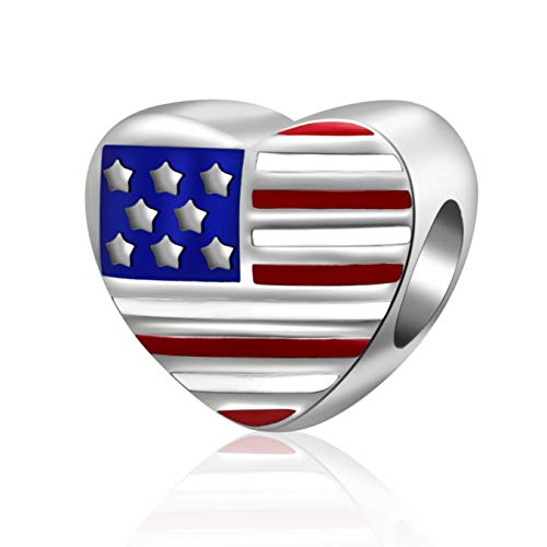 Patriotic Proud American USA Flag Charms 925 Sterling Silver Enamel Travel Country Bead (Heart) ()