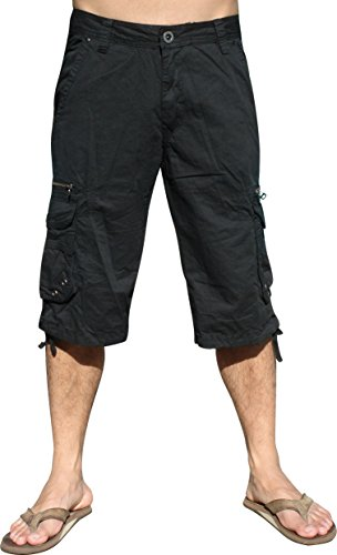 Mens Military-style Cargo Pocket Shorts, Black, - Short Style Black