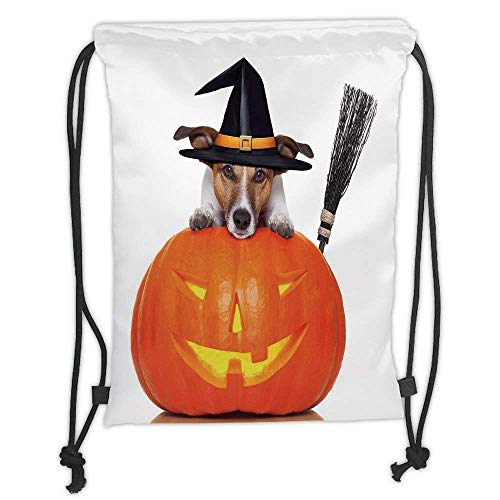 Custom Printed Drawstring Backpacks Bags,Halloween,Witch Dog with a Broomstick on Large Pumpkin Fun Humorous Hilarious Animal Print,Multicolor Soft Satin,5 Liter Capacity,Adjustable String Closur