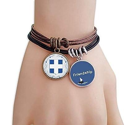 Greece Europe National Emblem Friendship Bracelet Leather Rope Wristband Couple Set Estimated Price -