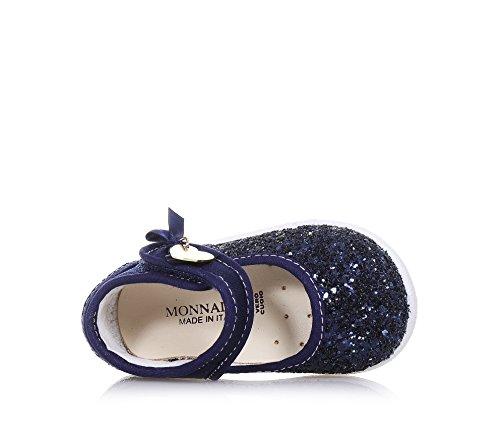 MONNALISA - Ballerine bleue en tissu et glitter, made in Italy, romantique et amusante, avec fermeture en velcro, Fille, Filles