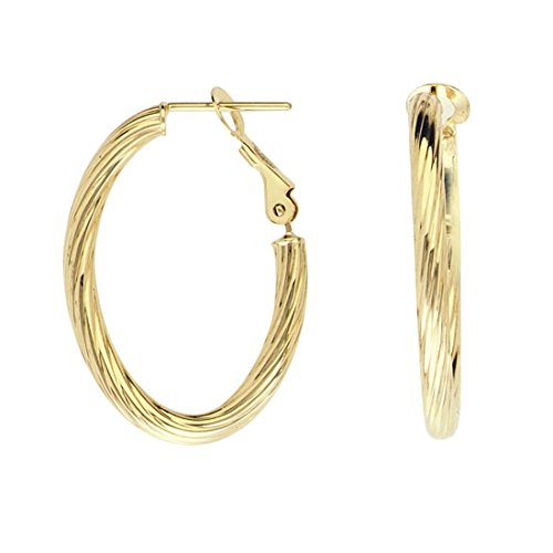 - 14k Yellow Gold Oval Twist Ribbed Hoop Earrings Post with Omega Clip