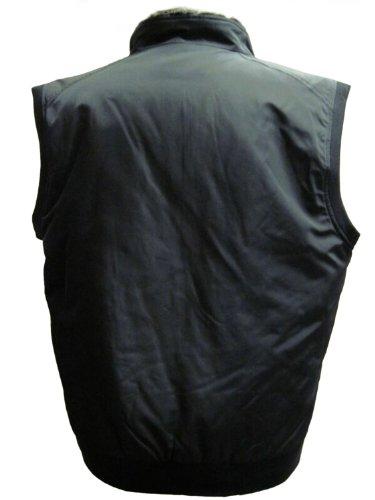hommes FursNewYork noir gilet de polyamide avec doublure mouton d'agneau amovible et col