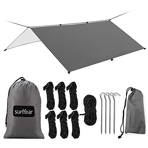 Hammock Rain Fly Tent Tarp Provides Effective Protection Against Rain, Snow. 13ft Long Ridgeline. Big 9.8x9.5ft Durable, Waterproof 210D Oxford. 6 Reflective Guy Lines, 2 Stuff Sacks. Easy Assembly (Best Camping Hammock For Big Guys)