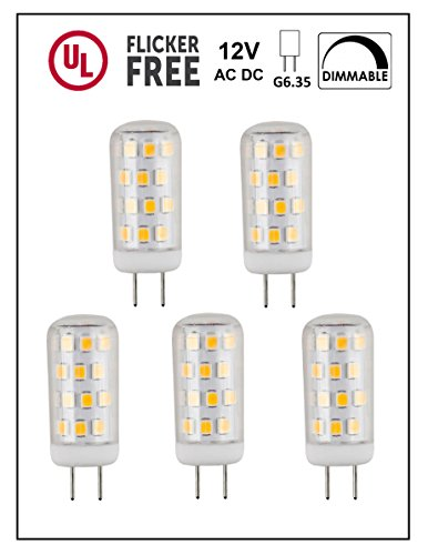 CBConcept UL-Listed, 12 Volt G6.35 LED Light Bulb, 5-Pack, 3 Watt, Dimmable, 330 Lumen, Pure White 6000K, 360° Beam Angle, 35W Equivalent, JC Bi-Pin Halogen Replacement Bulb