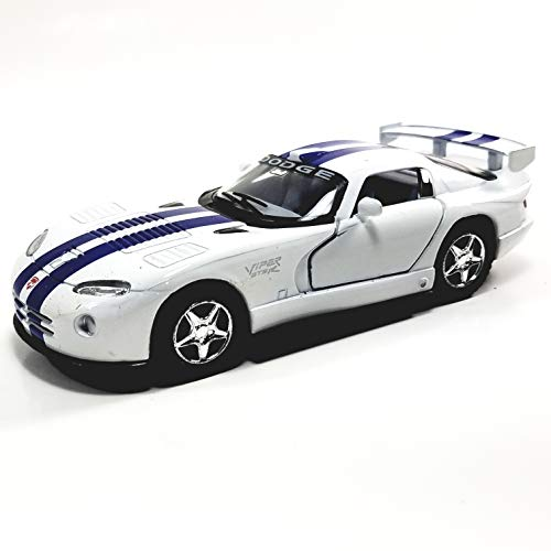 Kinsmart. Dodge Viper GTR-R White & Blue Stripes Hardtop 1/36 Scale Diecast Car