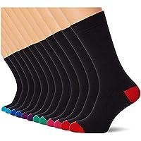 FM London Heren (pak van 12) sokken, zwart (licht en teen), 39-45 EU (fabrieksmaat: UK 6-11)