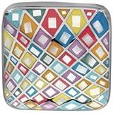 1001 Bijoux - Pendentif acier stella mia carré couleur pastel avec nacre