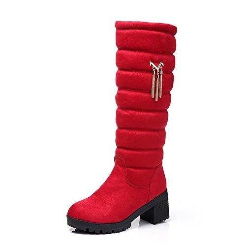 Allhqfashion Womens Xi Shi Stivaletti Gessati Alti In Velluto A Punta Chiusa Color Rosso
