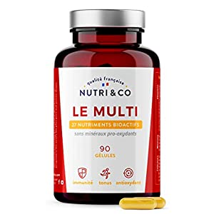Multivitamines et Minéraux 26 Nutriments • Zinc, Vitamines A B C D3 E K2 Bio-actives & Minéraux Haute Absorption…