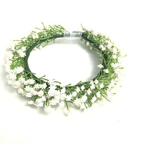 Cuteadorn Bridal Baby Breath Flower Crown Headband for Women & Girls Hair Wreath with Adjustable Ribbon(White)
