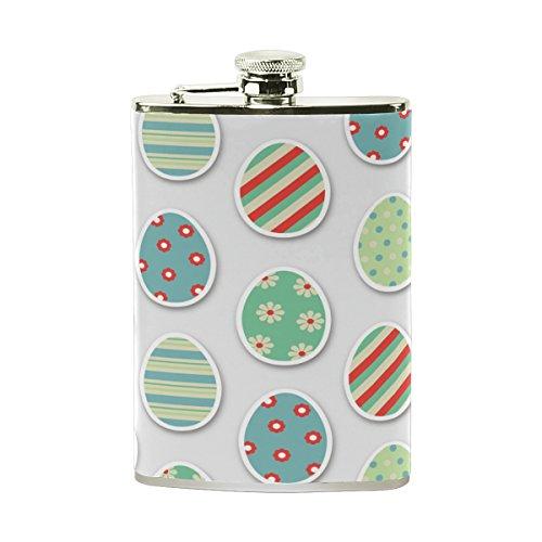 FENNEN Easter Eggs 8 oz Stainless Steel Pocket Hip Flask Bottle Set Leather Wrapped and 100% Leak Proof for Men Women Liquor Shot - Bottles Egg Liquor Easter