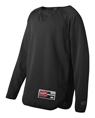 Rawlings - Youth Active Sports Long Sleeve Flatback Mesh Fleece Pullover Rawlings Black Home Plate